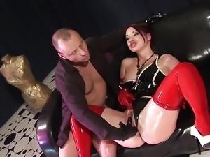 Kinky Slut Fucks In Oily Latex Dress, Gloves and Stockings