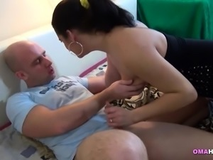 Horny mature joins couple into threesome