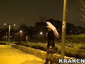 Outdoor provocation of this hot girl whith anal dildo