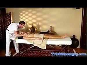 Busty milf doggystyled by muscular masseur