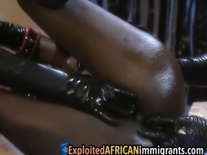 African babe who is really into bdsm rides on a nice long