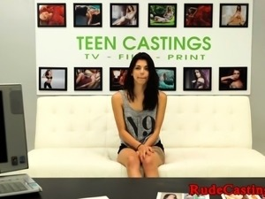 Young casting amateur doggystyled in closeup