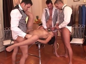 Porn star waiters gang bang brunette and serves her a healthy dose of...