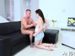 Dude fingers, licks and pounds sweet darlings vagina