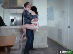 Returned from business trip buddy fucks juicy pussy of Athena Rayne hard