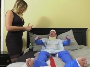 Immobilized cuckold hubby has to watch wife Blair Williams fucking with doctor