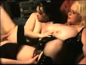 Two chunky mature ladies in lingerie share a throbbing rod