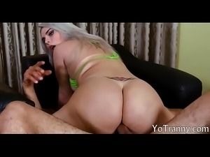 Busty tgirl ass banged till she jizzes