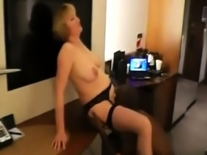 Buxom blonde in lingerie discovers her love for black meat