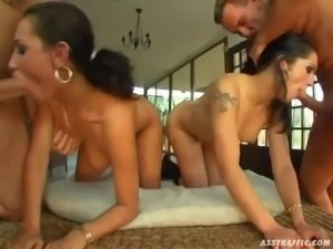 slutty ladies end up covered by cum after a foursome