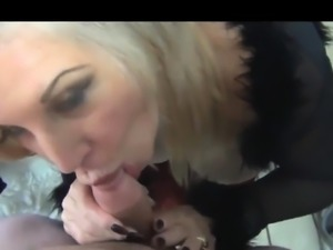 Stacked blonde milf in lingerie goes wild for a thick cock