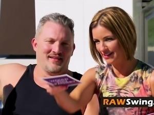 Hungry swinger slut wants fresh semen badly