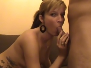 amateur lovely blonde swallows the sperm