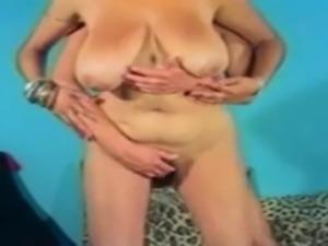 Massive cumshot on vintage big tits