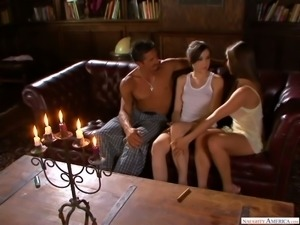 Hot romantic evening is turned into wild MFF threesome with Sasha Grey