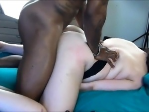 Chunky brunette gets nailed deep from behind by a black bull