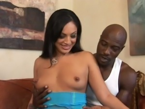 Happy straight haired lady Alicia Tyler lets black dude play with her titties