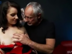 Real slut is hired by two perverts as she is known as good cock teaser