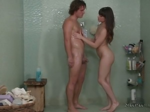 Cupid looking buddy gets awesome HJ from brunette babe Alison Rey