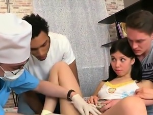 Lover assists with hymen checkup and screwing of virgin teen