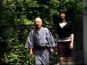 Lovely Asian babe seduces an old man to satisfy her needs