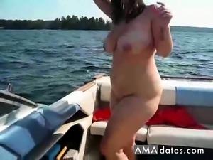 Nudist mature couple having sex on the boat