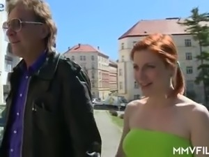Pigtailed Czech red head Rita Sinclair gets a chance to ride fat cock of...