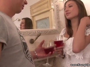 Bosomy hottie Laura gets rid of her white dress as it is time to ride dick