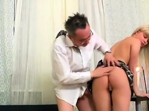 Cute schoolgirl was teased and drilled by her senior teacher