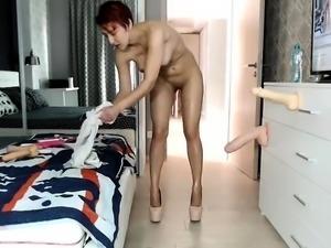 Redhead nurse with large boobs sucks