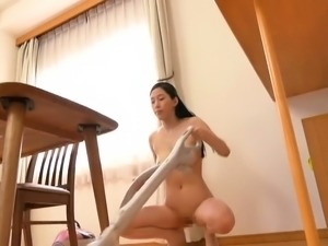 Buxom Japanese wife spreads her sexy legs for a stiff cock