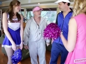 Cute fresh cheerleader Molly Manson ride gaffer's stiff dick on top
