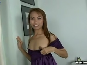 Horn-mad Asian slut takes condomed cock deep enough in twat