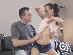 Long legged svelte Romanian hottie Tina Walker gets her slit teased by older man