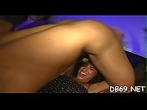 Blond cute guy cruelly fucked girls on sofa pulled their legs up