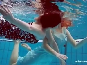 Damn cock-hardening underwater show of busty beautiful hottie Dashka