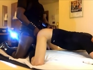 Sexy white boy has a dark stud hammering his ass from behind