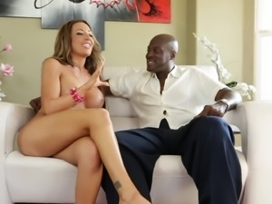 Sexy cougar with fake tits converse her dude in interracial backstage scene