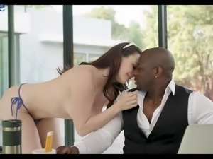 White nympho Chanel Preston has nothing against fucking with black stud