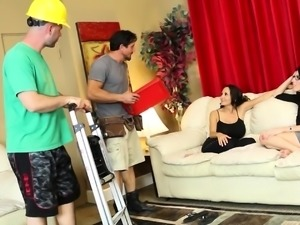 Dava and Ava fuck their handymen who came to fix their AC