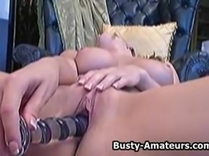Busty babe Lisa playing her shave pussy with dildo