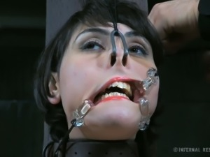 Raven haired wild slut Audrey Noir had nasty BDSM session being bound to post