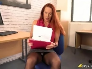 Perverted office UK slut Faye Rampton exposes and teases her bald cunt