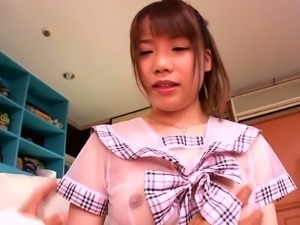 Dazzling Japanese teen has two boys toying her hairy peach