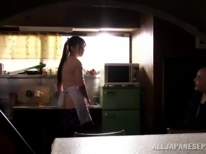 Sexy Japanese Yui Hataro Gets Pussy and Throat Fucked in the Kitchen