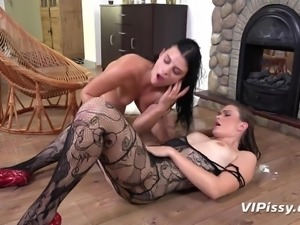 These lesbians love to play in piss. Watch as they lick each other all over...