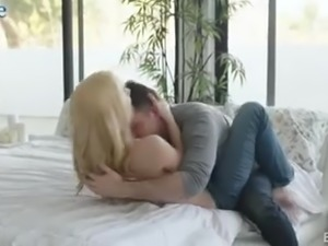 Cheated poor GF has to watch the way her BF fucks blonde hoe Kenna James