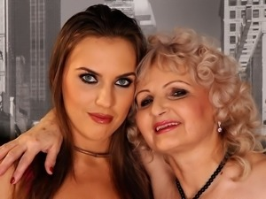 Horny granny in an old and young threesome