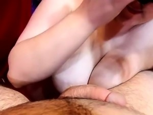 Masked cougar with big natural hooters gives a POV blowjob