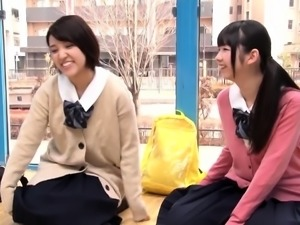 Two lovely Asian schoolgirls getting pounded hard together